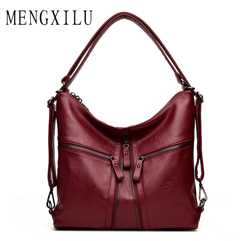 MENGXILU Brand New Leather Tote Bag Women Handbag Designer Large Capacity Shoulder Bags Fashion Lady Purses Crossbody Bag Bolsas women canvas messenger bags female crossbody bags solid shoulder bag fashion casual designer handbag large capacity tote gifts