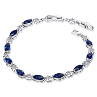 Wholesale White Gold-color Colorful Marquise Blue Water Drop Cubic Zirconia Women Chain Bracelet No Nickel Free Shipping