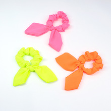 JZJR Neon Scrunchies Elastic Hair Ties Colorful Ponytail Holders bow hair tie Candy Color Accessories  Headband