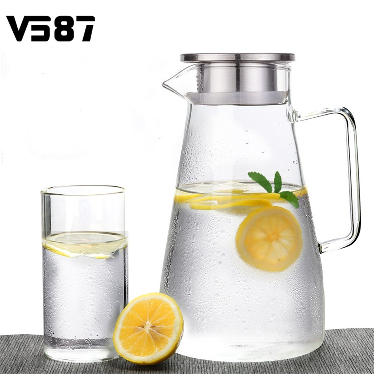 Stainless Steel 1500ml Clear Glass Pitcher Jug Water