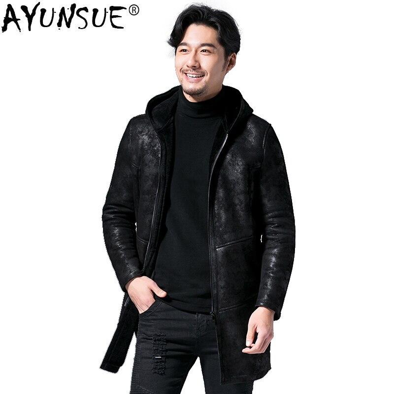 AYUNSUE Genuine Leather Jacket Men Sheep Shearling Real Fur Coat Plus Size Real Fur Wool Chaqueta Cuero Hombre C567A15741 KJ1114