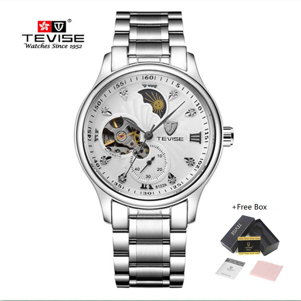 Brand Watch Men Luxury TEVISE Tourbillon Automatic Mechanical Watches Waterproof Moon Phase Steel Mens Wrist Watches Male Clock tevise men watch black stainless steel automatic mechanical men s watch luminous waterproof watch rotate dial mens wristwatches