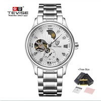 Brand Watch Men Luxury TEVISE Tourbillon Automatic Mechanical Watches Waterproof Moon Phase Steel Mens Wrist Watches