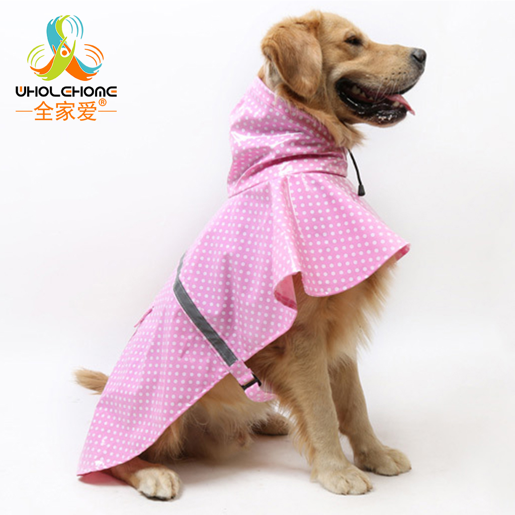 Pet Clothes Rain Snow Coat of Paint Polka Dot Large Dog Raincoat Golden Retriever Labrad ...