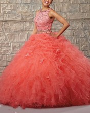 2015 Shiny Ball Gown Quinceanera Dresses with Lace Sequins Shawl Custom-made Scoop Plus Size Vestido 15 Party Prom