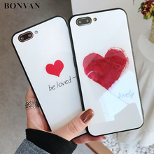 BONVAN Temperli Cam iPhone için kılıf X 8 7 artı Sevimli Aşk Kalp Tam Koruma Cam Kapak iPhone 6 6 s 7 8 artı Sert Durumlarda