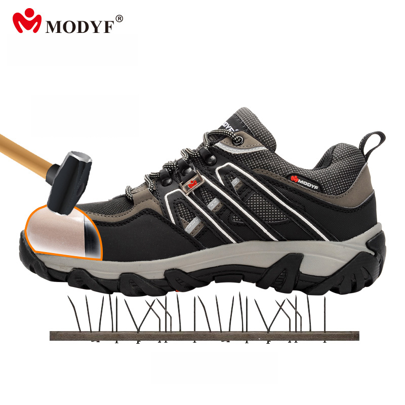 Modyf steel toe cap hiking shoes for Men reflective safety shoes anti-smashing ang anti-perforation sole shoes size plus 37-46 labor waterproof overshoes industrial working shoes cover factory rubber anti smashing protective safety shoes non slip