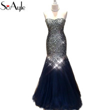 SoAyle Mermaid Evening Dresses 2018 Navy Blue Prom Dresses