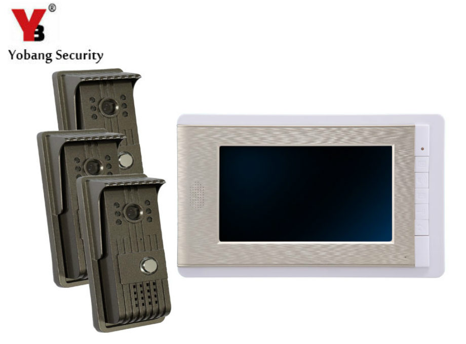 YobangSecurity 7 Inch Video Door Phone Doorbell Video Entry System Intercom Home Security Kit 3 camera 1 monitor Night Vision new hot home security door entry system mag lock 1200lbs kit power supply 110 220v for video door phone doorbell intercom system