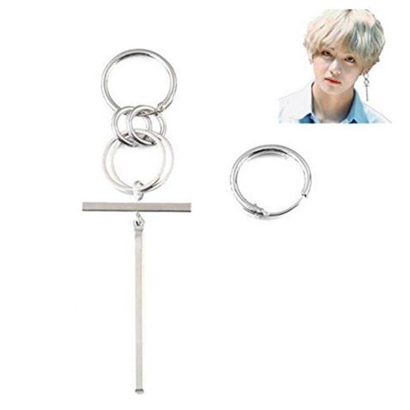 2b891a5fe 1pair V BTS Earrings DNA Korean hoop Earrings Long Men Bangtan Boys V DNA  Earring For Women Men BTS Album Accessories Kpop
