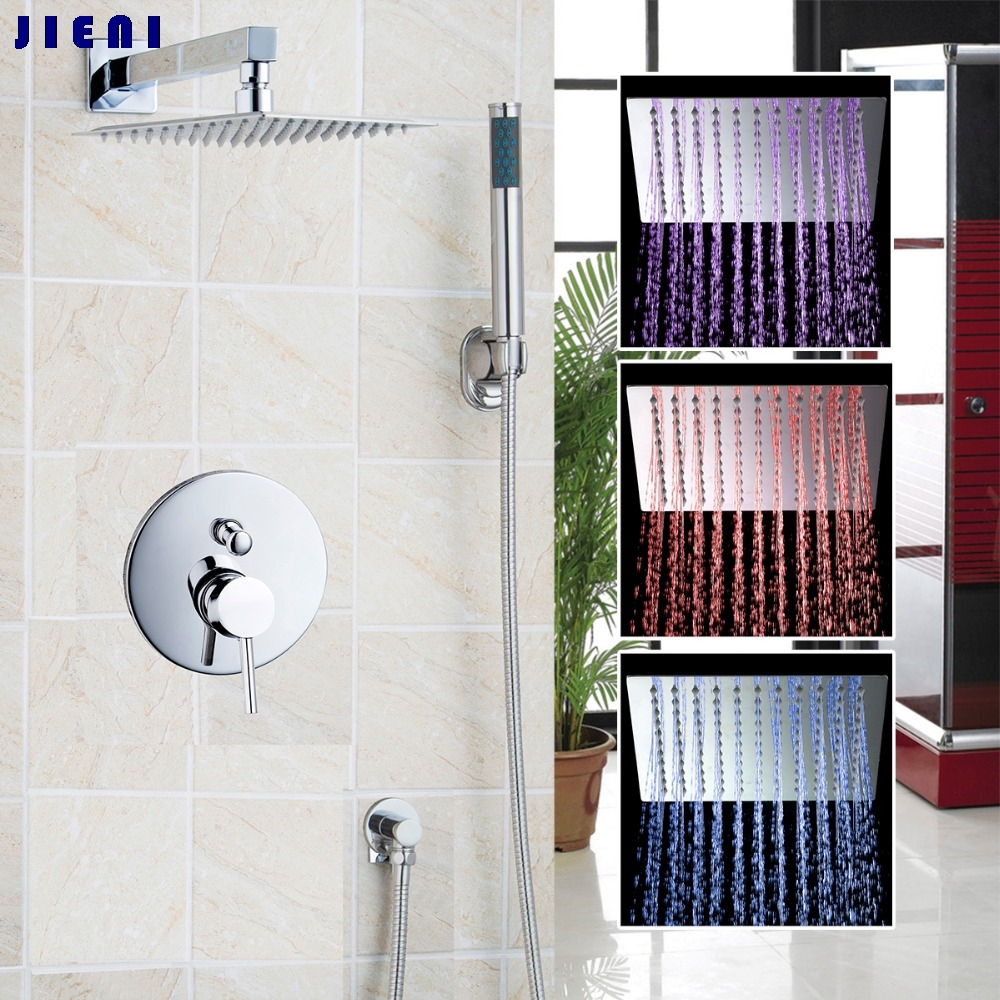 12 Wall Mounted Rain Shower Set Luxury Square Shower Head Shower Set with Handlde Shower Chrome
