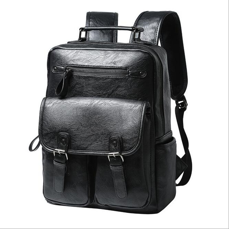 High Quality Vintage Style PU Leather Men Backpacks For College Preppy Style School Backpacks Korean Casual Shoulder Bag high quality england vintage style genuine leather men backpacks for college school backpacks for 14 inch laptop bags 9024