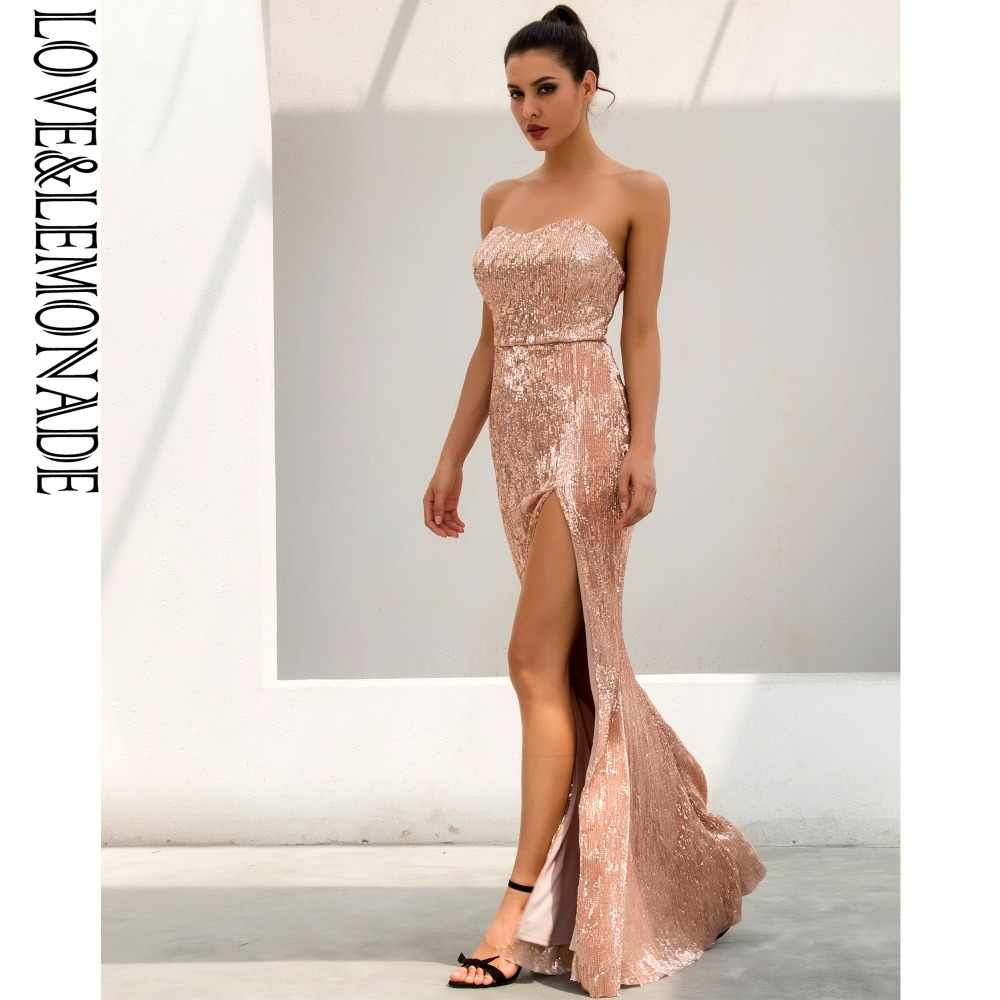 09f3b3585f2 ... Love Lemonade Champagne Tube Top Cut Out Fish Tail Shaped Elastic  Sequin Material Long Dress LM1055 ...