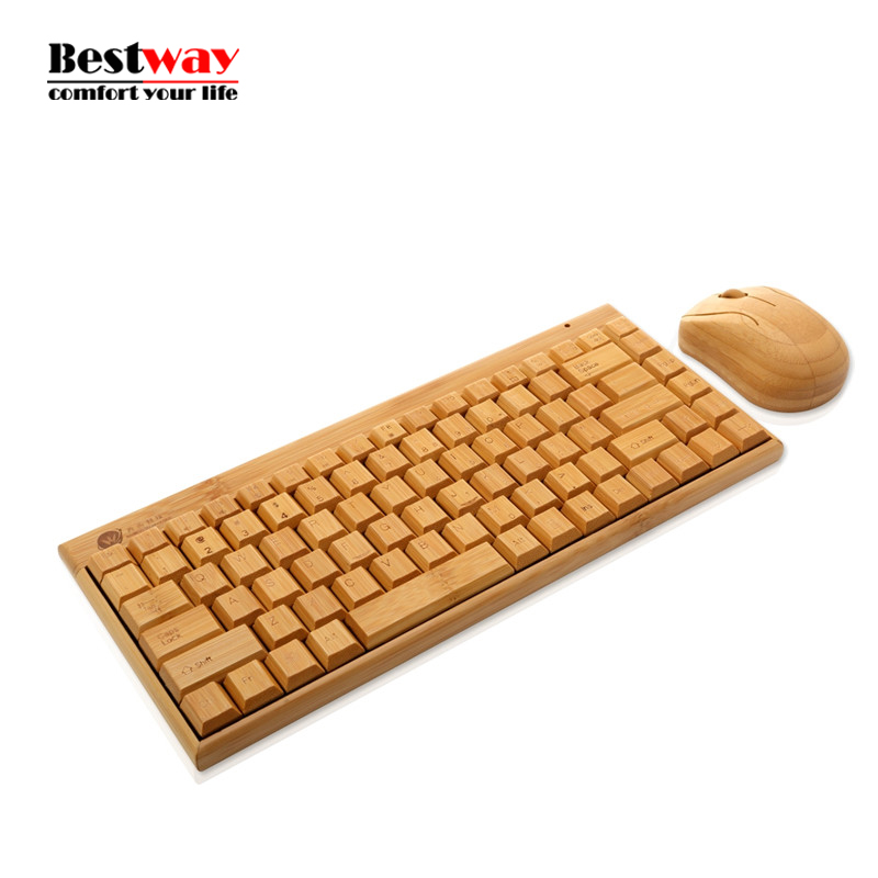 Bamboo Wireless Keyboard And Mouse Teclado e Mouse Sem Fio Klavye Mouse Set Wireless Keyboard Mouse Combo For Laptop PC Gaming