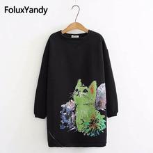 Cartoon Cat Print Sweatshirt Women Plus Size 5XL Casual O-neck Loose Long Sleeve Warm Thick Hoodie Black KKFY2413 все цены
