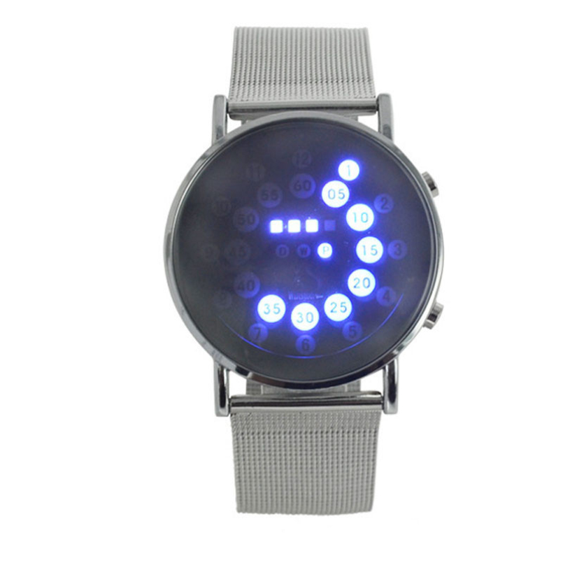 Excellent Quality Top Luxury Mens Wrist Watches LED Round Mirror Blue Circles Stainless Steel Digital Watch for Gift