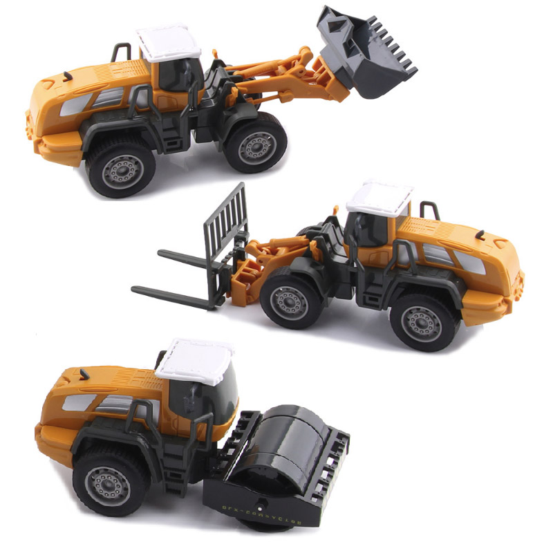4 In 1 Bulldozer Truck Engineering Vehicle Compactor 1:55 Model Change Part High Quality ABS Static Inertia Boys Toys Gift