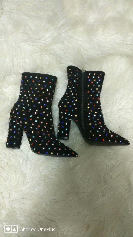Punta Alto Chunky Invierno Mujeres Zapatos Reales Heel Del Colorido Talón Vestido Boot Estrecha De Imágenes Diamante 06xwqz65