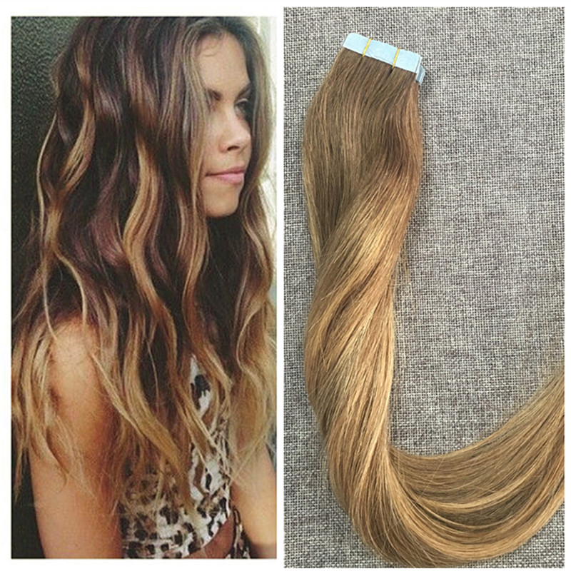Fullshine Brazilian Remy Hair Ombre Tape Hair Extensions Balayage