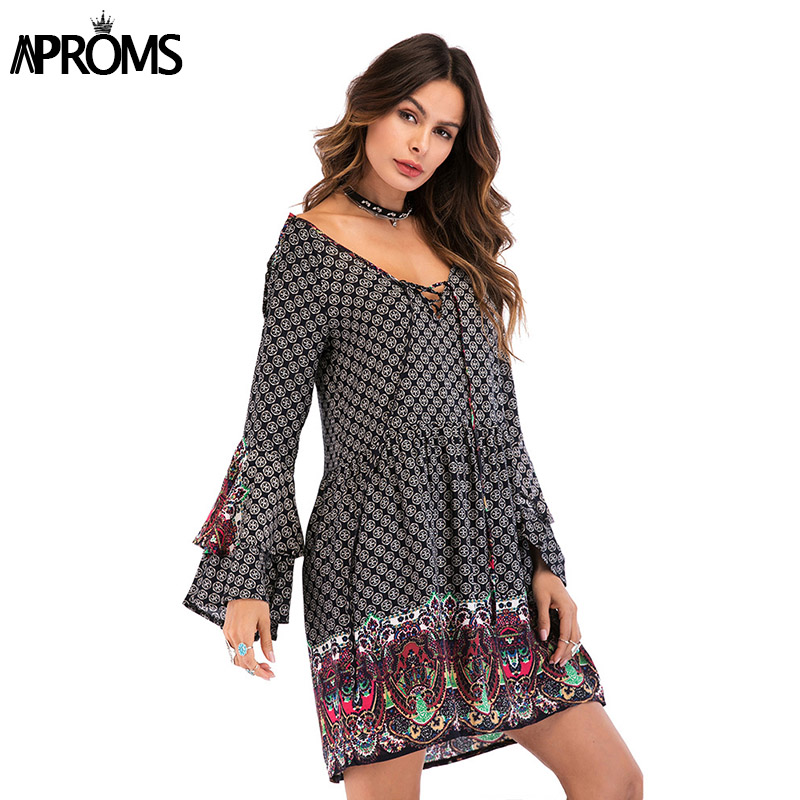 Aproms Flare Sleeve Lace Up Summer Dress 2018 Boho Floral Print Women Casual V Neck Long