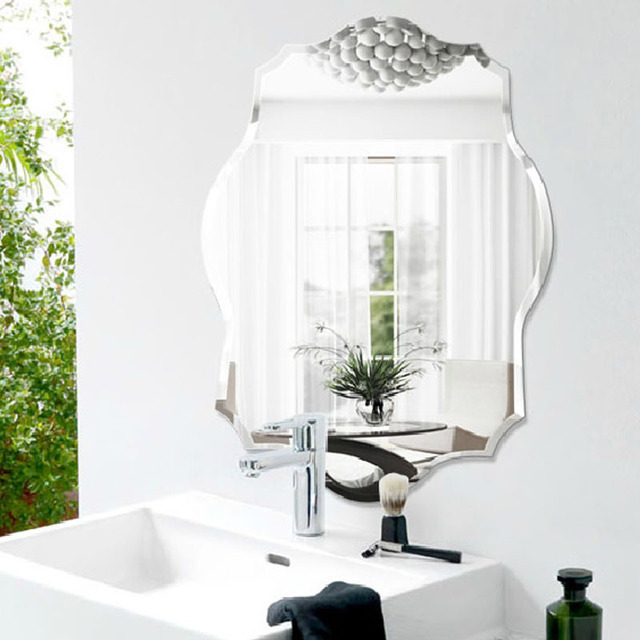 Fashion Bathroom, Ultra Clear Glass Mirror, Rhombus Wall Mirror Bathroom  Mirror Beveled Frameless 600