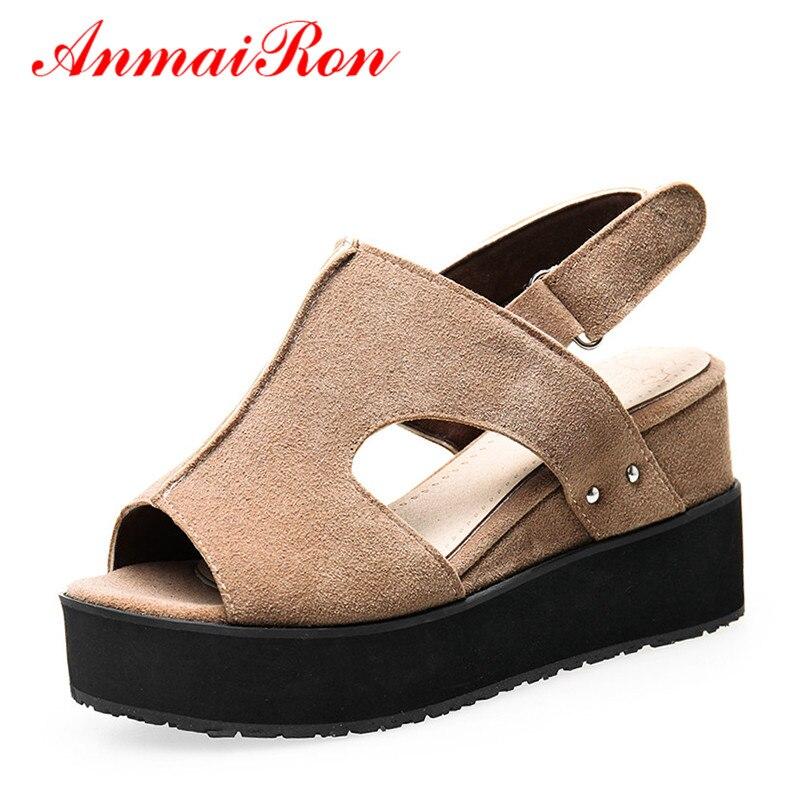 ANMAIRON Fashion Summer Shoes Woman High Heels Wedges Sansals Women Hook&Loop Nubuck Peep Toe Platform Sandals Big Size 34-43 phyanic 2017 summer women sandals platform wedges sandals hook
