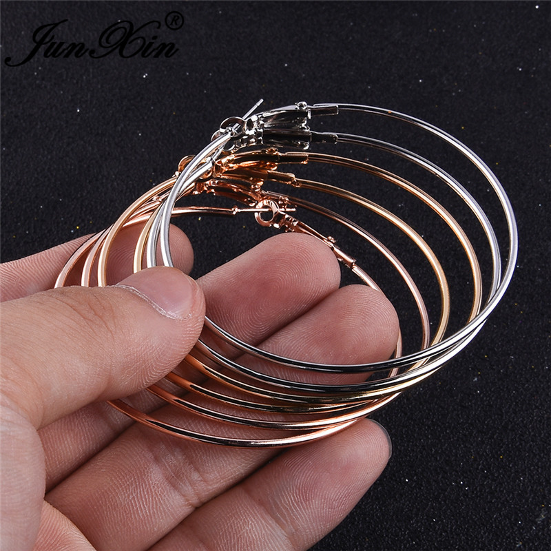JUNXIN 6pcs Big Circle Hoop Earrings Sets For Women Retro Rose Gold Metal Large Statement Earrings For Women Minimalist Jewelry