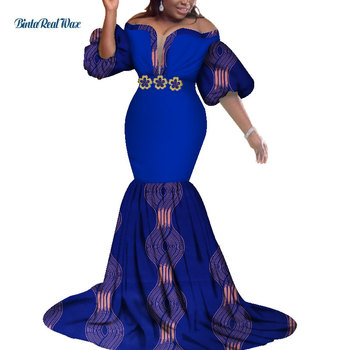 African Print Dresses for Women Bazin Riche African Clothes Applique Long Mermaid Evening Dress Dashiki African Clothing WY3623