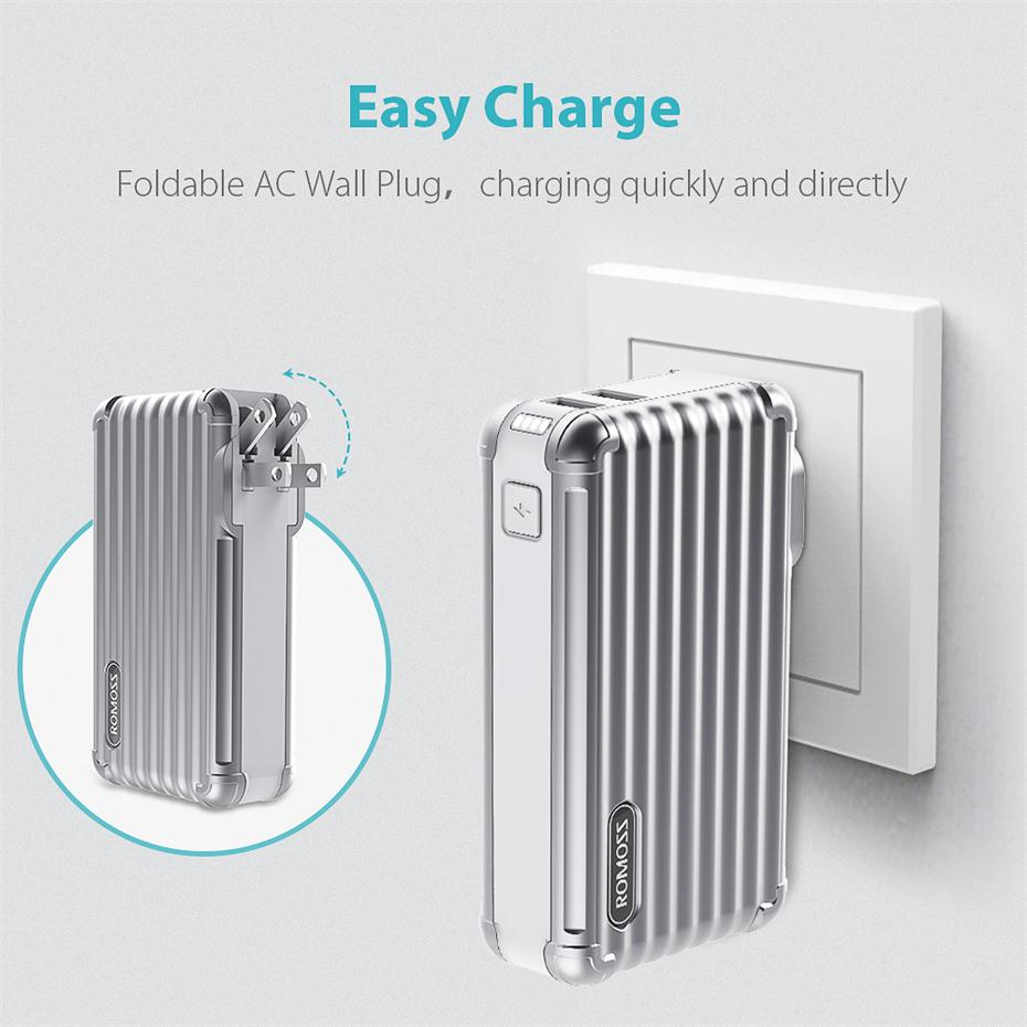 10000mAh 2-in-1 Power Bank and Wall Charger ROMOSS UP10 Dual Port USB Portable Charger 4