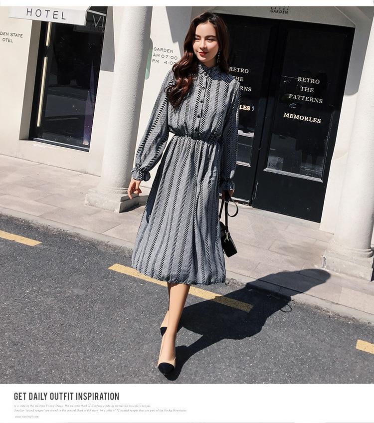 Women chiffon dress 2019 spring autumn female vintage print elegant a-line dress long sleeve loose casual office lady dress 13