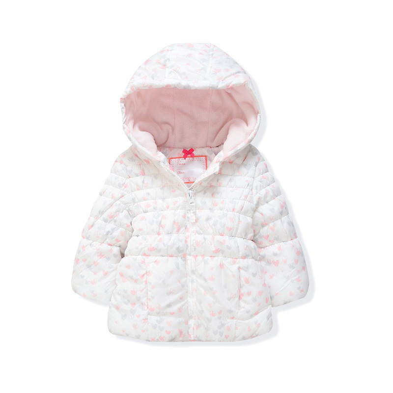 1-5T Girls Baby White love quilted cotton-padded jacket Princess Warm hooded outerwear