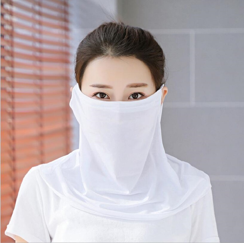 Women Solid Color Breathable Mask Sun Protection Cool Feeling Outdoors Travel Cycling Mask Anti-dust Female Shawl Multi-purpose