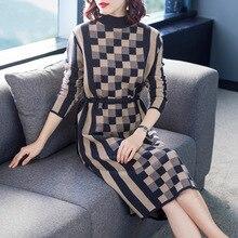 Plaid half turtleneck elastic knit a line sweater dress 2018 new women autumn winter basic long sleeve