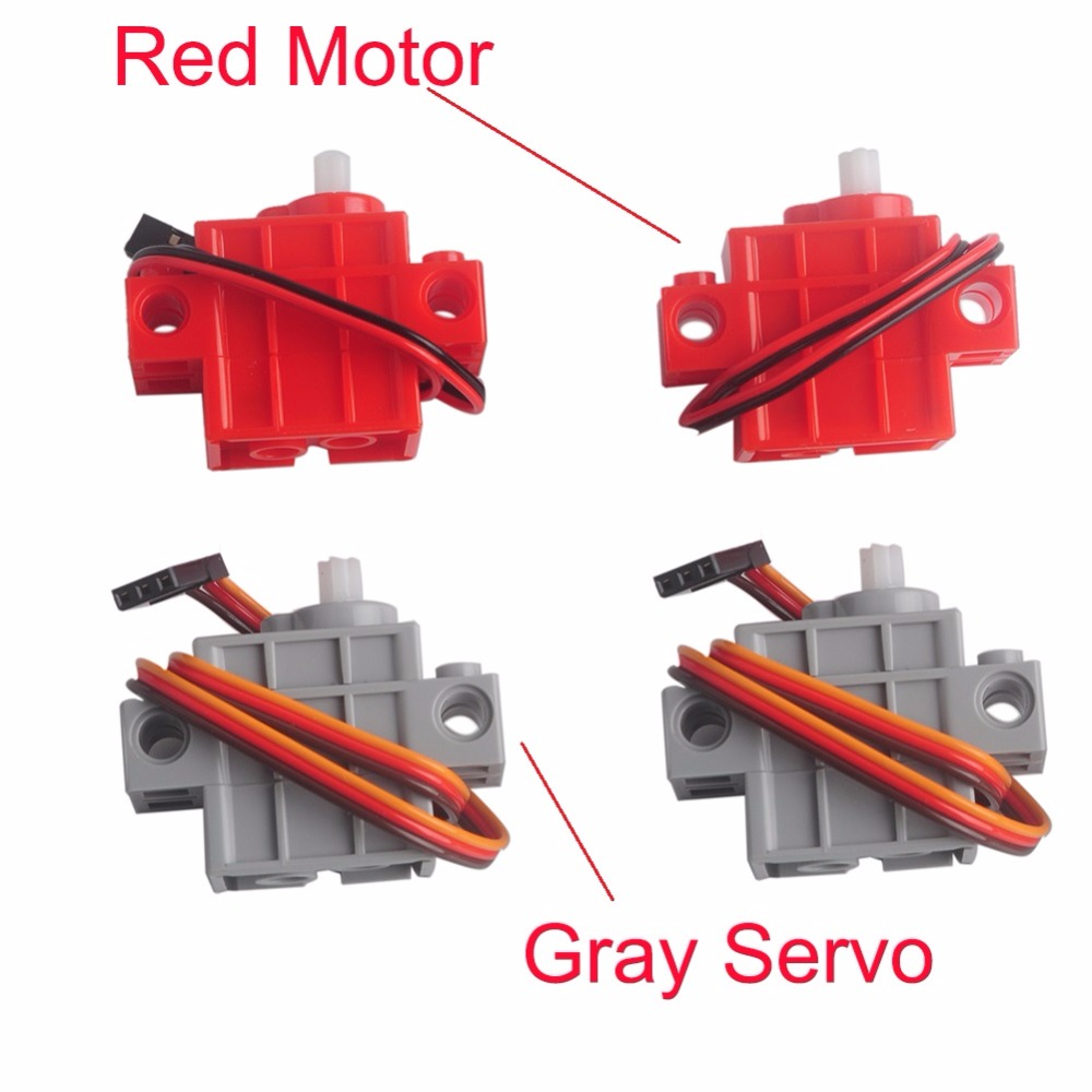 4Pcs 270 Degree Programmable Gray Geek Servos / Red Gear Motor for micro:bit Robotbit LEGO Smart Car Makecode MB0007 MB0008