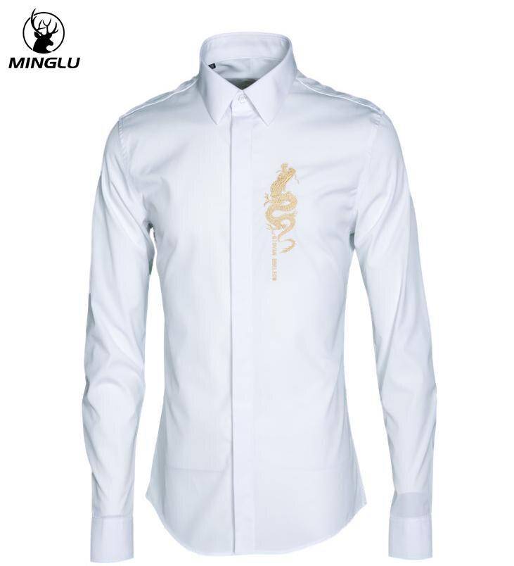 Luxe hommes Chemise Chemise Homme marque or Loong broderie Chemise décontracté à manches longues Slim Fit hommes de haute qualité robe chemises