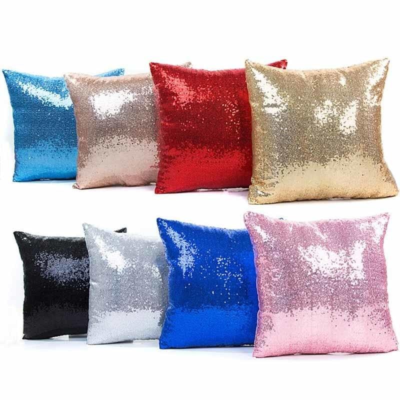 1Pcs 40*40cm Solid Sequin Glitter Throw Pillow Cushion Cover Seat Car Home Decoration Sofa Bed Decor Decorative Pillowcase 40046