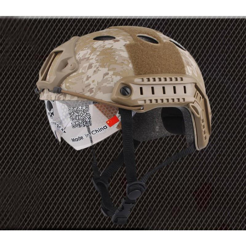 Casque rapide EmersonGear avec lunettes de protection casque de Combat tactique militaire de Type PJ