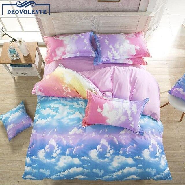 3/4 шт Beddingset Луна облако пододеяльник костюм полиэстер цветет реактивной печати постельные принадлежности чехол для взрослых дома домашняя