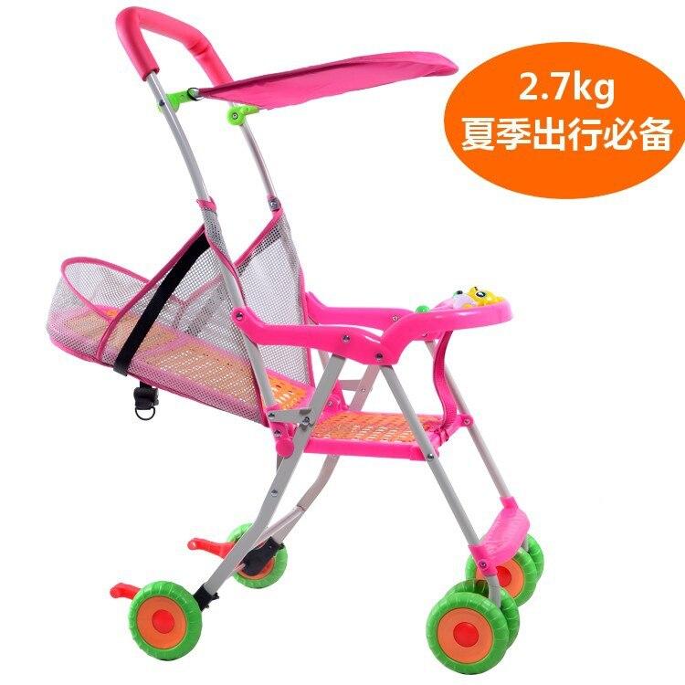 Бесплатная доставка Лето Бамбук имитация ротанга Детские коляски сиденья легкий складной ребенок может сидеть и лежат четыре тачки