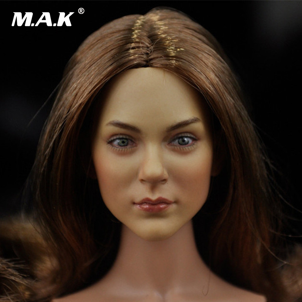 On Sale 1/6 Lady's Head Sculpt Brown Curly Hair European Beauty Headplay for 12 inches DIY Action Figures 1 6 scale the game of death bruce lee head sculpt and kungfu clothes for 12 inches figures bodies