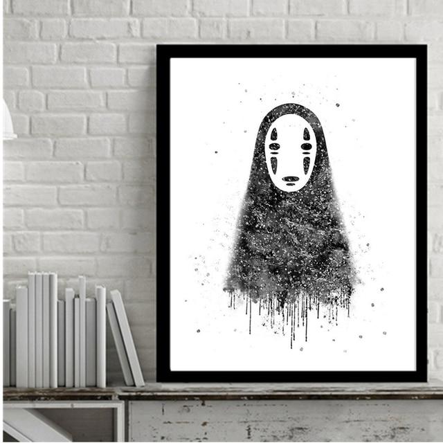 AZQSD Aquarell Keine Gesicht Mann Japanischen Anime Kunstdruck Poster Abstrakt Leinwand Gemalde Fur Wohnzimmer Decor PP080
