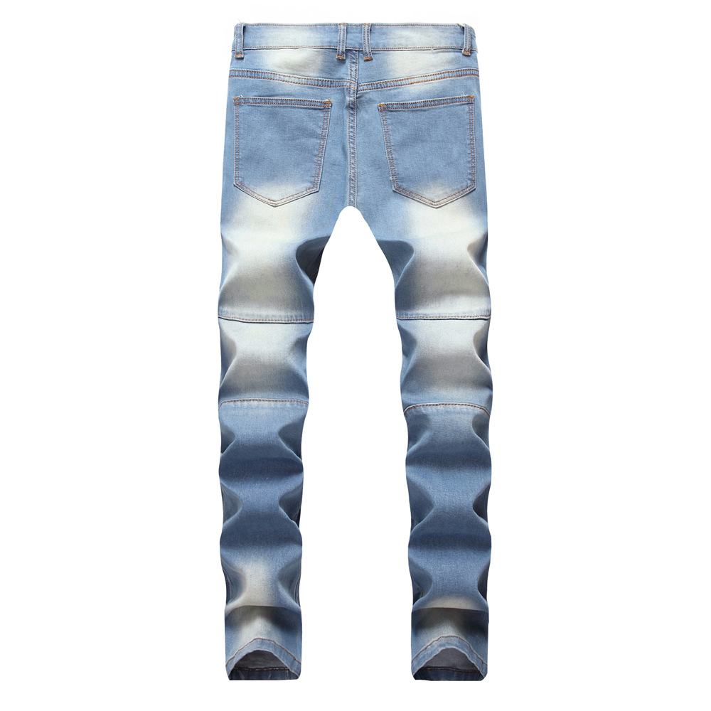 Male Hip Hop Hole Jeans Zipper Stretch Fashion High Street Wrinkle Light Blue Jeans Trousers Ripped Bleached Zipper Skinny Jeans