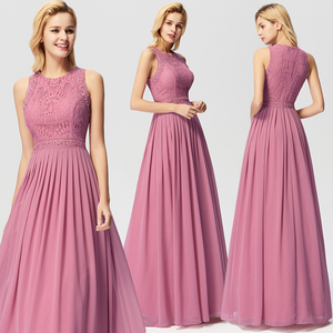 Image 2 - Robe Longue Dentelle Bridesmaid Dresses 2020 Ever Pretty New Arrival A line Sleeveless Burgundy Women Wedding Guest Party Gowns