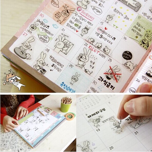 6 sheets/1 lot cartoon stationery deco Kawaii Planner Stickers Hong-e Glasses rabbit diary sticky note/post it/Decoration Label