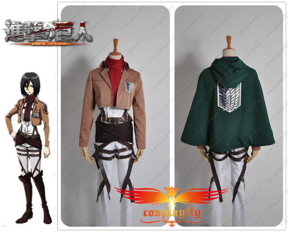 Attack on Titan The Recon Corp Mikasa Ackerman Adult Outfit Clothing Cosplay Costume With or Without Cloak Two Set Versions