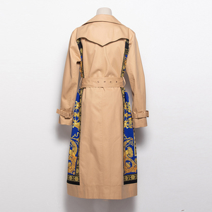 Image 5 - AELESEEN 2018 Womens Fashion Trench New Fall Winter Full Sleeve Turn Collar Luxury Vintage Print Slim Belt Elegant Long Coat