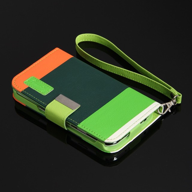 Three Colour Wristlet S4 Leather Case for Samsung Galaxy S4 wallet S IV GT- I9500 cover Free shipping 10pcs/lot