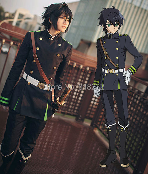 Seraph Of The End Yuichiro Hyakuya Uniform Outfit Anime Cosplay Costumes Whole Set free shipping seraph of the end yuichiro hyakuya boy s uniform cosplay costume acceptable order halloween wholesale