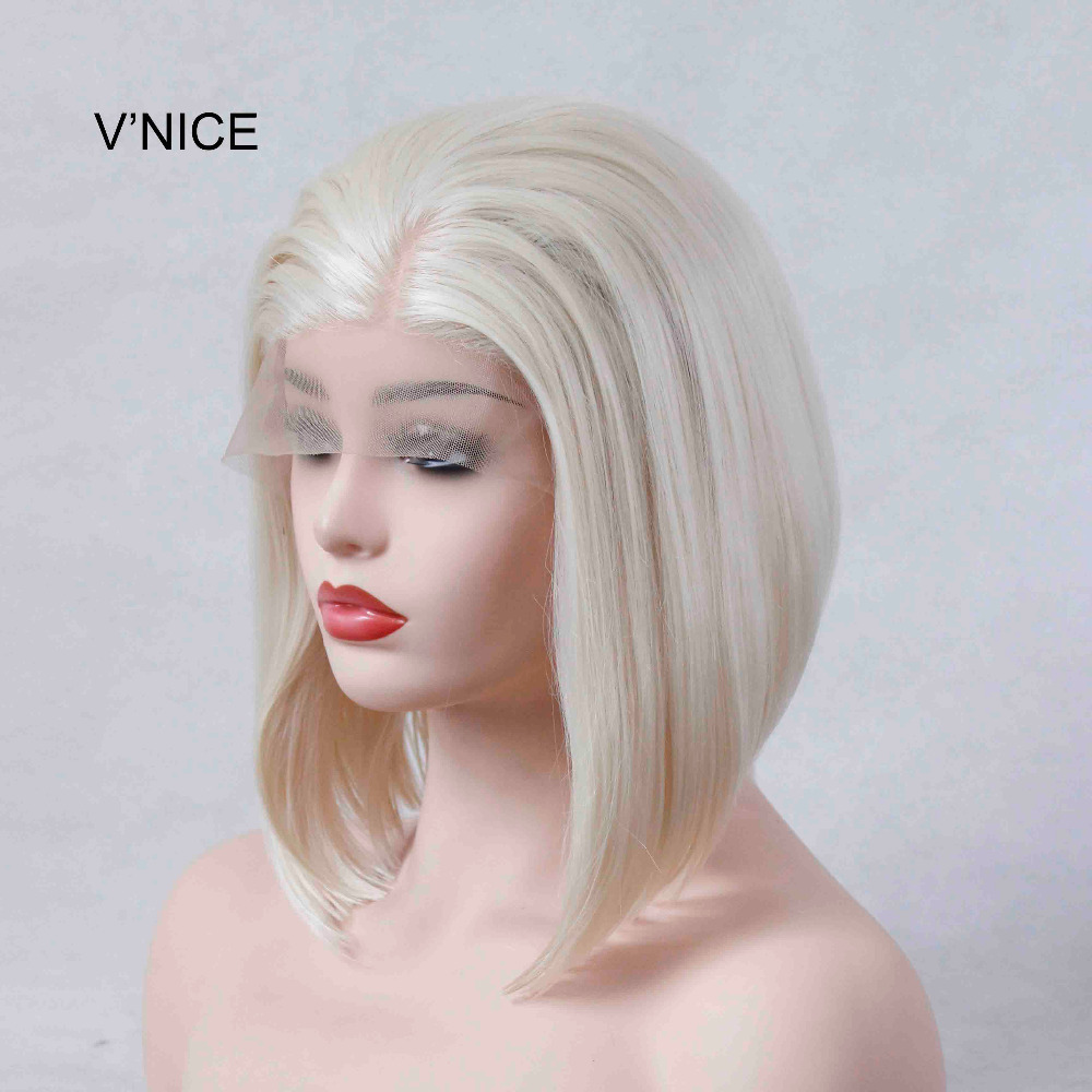 VNICE Short Blonde Bob Wig Straight Glueless Synthetic Lace Front Wigs for Women Light Blonde Heat Resistant Fiber Side Part