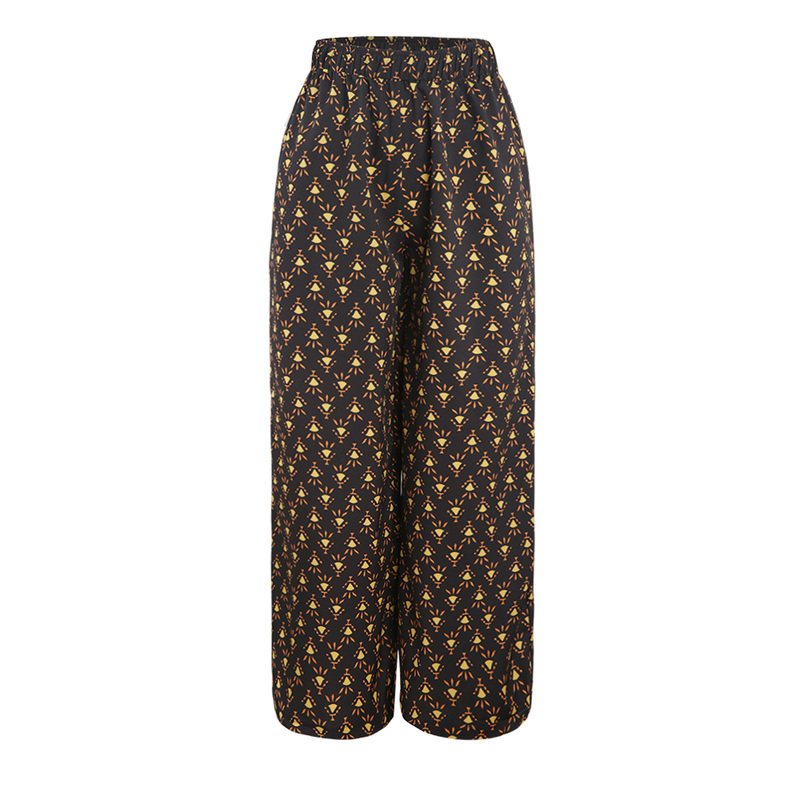 summer western style fashion print thin fabric high waist SML XL XXL Elastic waist woman Casual   wide     leg     pants   lady trousers